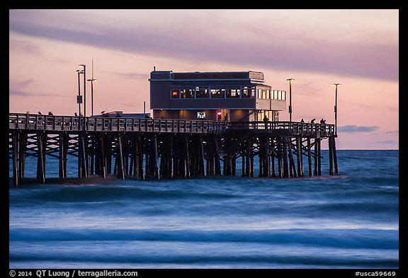 Newport Pier and restaurant at sunset. Newport Beach, Orange County, California, USA (color)