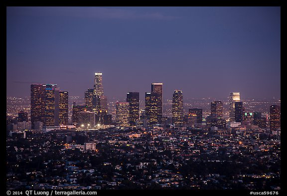 City Skyline at dusk. Los Angeles, California, USA (color)