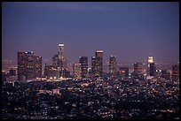 City Skyline at dusk. Los Angeles, California, USA ( color)