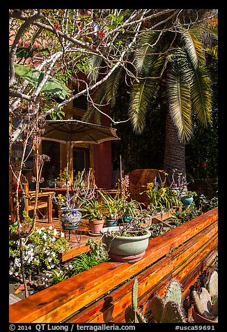 Front deck with potted plants. Venice, Los Angeles, California, USA (color)