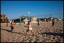 People playing volleyball on beach, Hermosa Beach. Los Angeles, California, USA ( color)