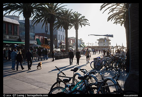 Plaza next to pier in late afternoon, Hermosa Beach. Los Angeles, California, USA (color)