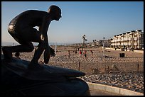 Statue of surfer and lifeguard Tim Kelly, Hermosa Beach. Los Angeles, California, USA ( color)