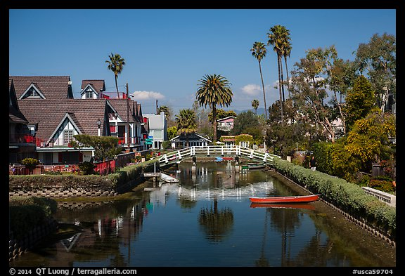 Bridge spanning canals. Venice, Los Angeles, California, USA (color)