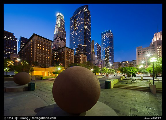 Pershing Square and skyscrappers at dusk. Los Angeles, California, USA (color)