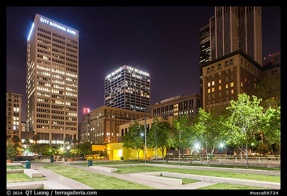Pershing Square at night. Los Angeles, California, USA (color)