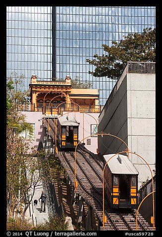 Angels Flight tram. Los Angeles, California, USA (color)
