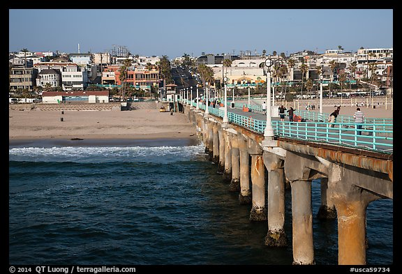 View from pier, Manhattan Beach. Los Angeles, California, USA (color)