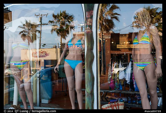 Beachwear in storefront, Manhattan Beach. Los Angeles, California, USA (color)