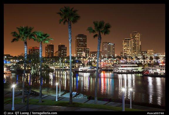 Skyline At Harbor Night Long Beach Los Angeles California Usa