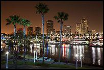 Skyline at harbor at night. Long Beach, Los Angeles, California, USA ( color)