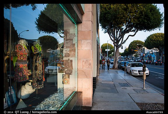 Storefront and downtown street. Santa Monica, Los Angeles, California, USA (color)