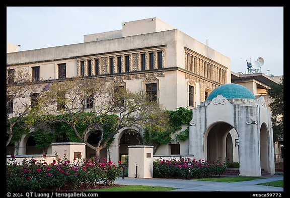 Ornate building and arch on Caltech campus. Pasadena, Los Angeles, California, USA (color)