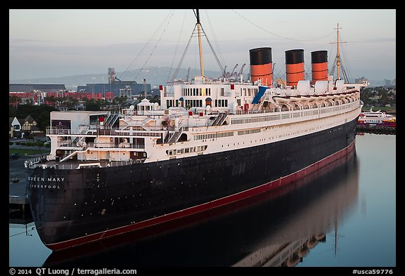 View of Queen Mary from above. Long Beach, Los Angeles, California, USA (color)