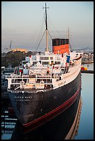 View of Queen Mary from behind and above. Long Beach, Los Angeles, California, USA ( color)