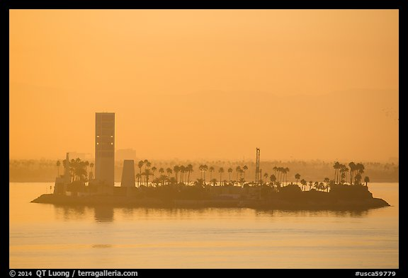 Islet at sunrise in harbor. Long Beach, Los Angeles, California, USA (color)