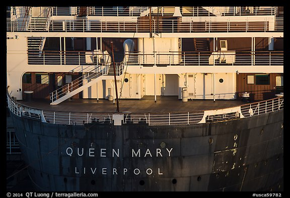 RMS Queen Mary stern. Long Beach, Los Angeles, California, USA (color)