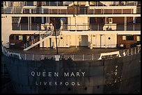 RMS Queen Mary stern. Long Beach, Los Angeles, California, USA ( color)