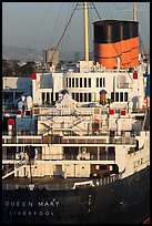 Queen Mary stern and smokestacks at sunrise. Long Beach, Los Angeles, California, USA ( color)