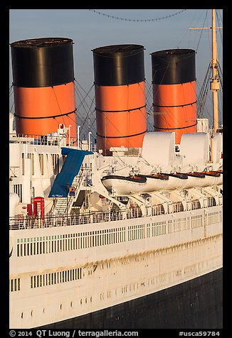 Queen Mary side and smokestacks at sunrise. Long Beach, Los Angeles, California, USA (color)