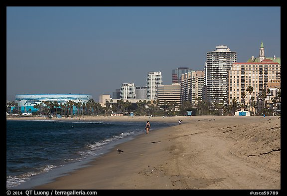 Beach and high-rises. Long Beach, Los Angeles, California, USA (color)