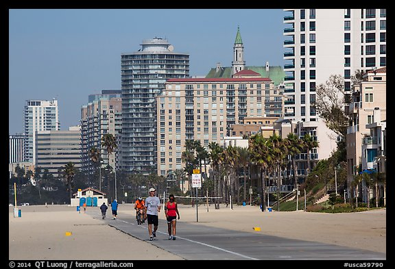 People exercising on beach promenade. Long Beach, Los Angeles, California, USA (color)