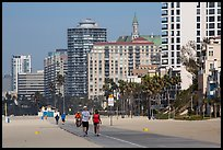 People exercising on beach promenade. Long Beach, Los Angeles, California, USA ( color)