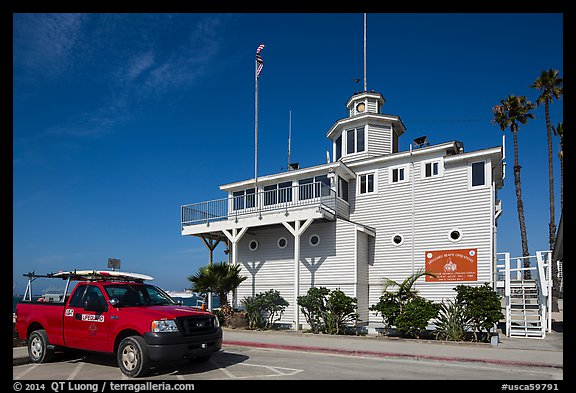 Historic Lifeguard station. Long Beach, Los Angeles, California, USA (color)