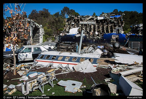 Movie set consisting of plane crash site, Universal Studios. Universal City, Los Angeles, California, USA (color)