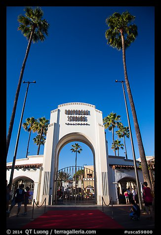 Entrance gate, Universal Studios. Universal City, Los Angeles, California, USA (color)