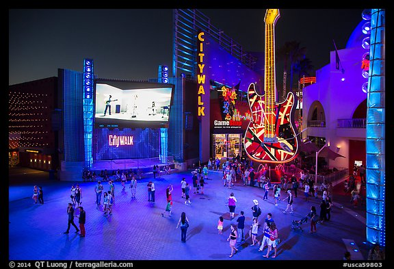 Universal Citywalk at night. Universal City, Los Angeles, California, USA (color)