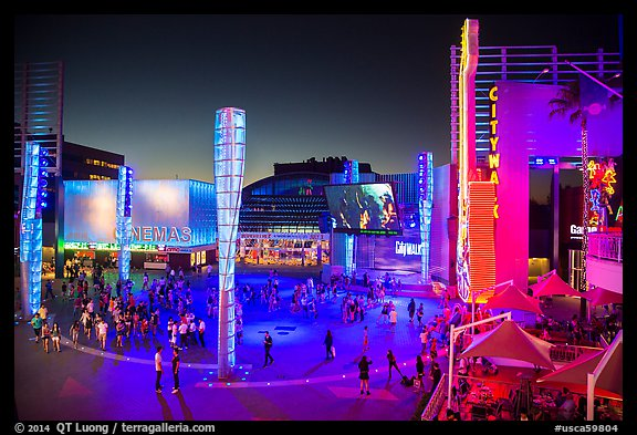Universal Citywalk entertainment and retail districts at night. Universal City, Los Angeles, California, USA (color)