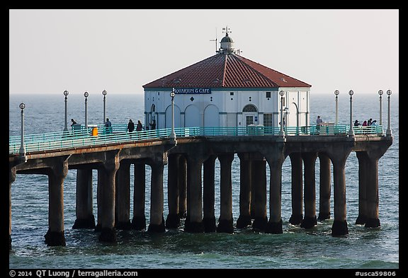Aquarium and cafe on pier, Manhattan Beach. Los Angeles, California, USA (color)