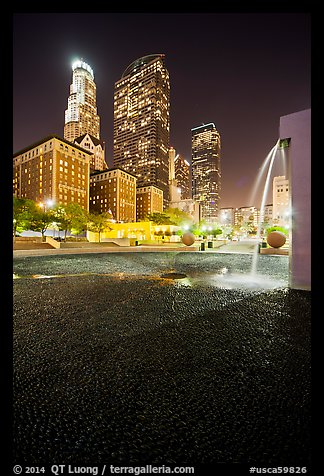 Fountain and high-rises at night, Pershing Square. Los Angeles, California, USA (color)