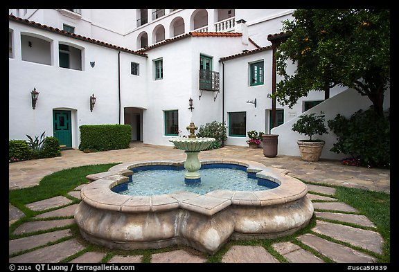 Historic Paseo courtyard and fountain. Santa Barbara, California, USA (color)