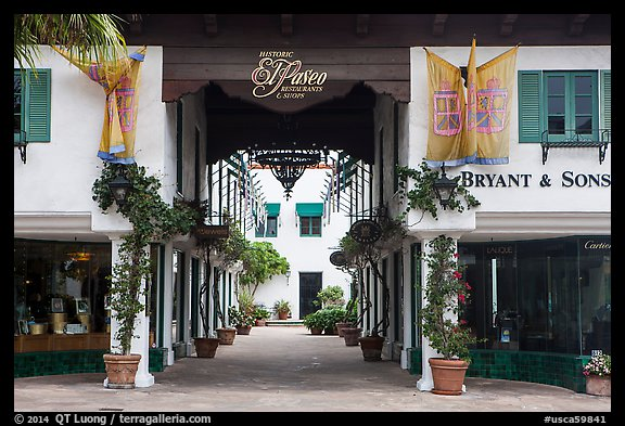 Entrance of Historic Paseo shopping area. Santa Barbara, California, USA (color)