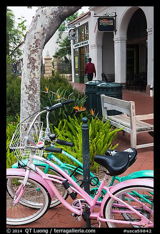 Bicycle on sidewalk. Santa Barbara, California, USA (color)