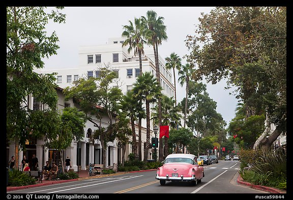 State Street on cloudy day. Santa Barbara, California, USA (color)