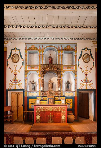 Chapel interior, El Presidio. Santa Barbara, California, USA (color)