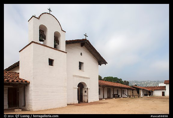 Chapel and Presidio. Santa Barbara, California, USA (color)