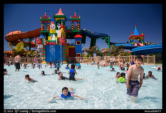 Waterpark and slides, Legoland, Carlsbad. California, USA (color)