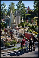 Familly looks at San Francisco built from legos, Legoland, Carlsbad. California, USA ( color)
