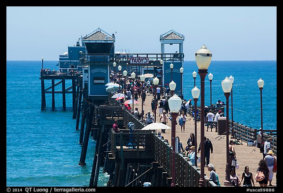 Lamps and pier, Oceanside. California, USA (color)