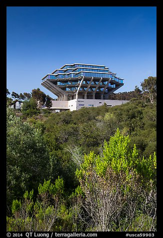 Geisel Library seen from parkland, UCSD. La Jolla, San Diego, California, USA (color)