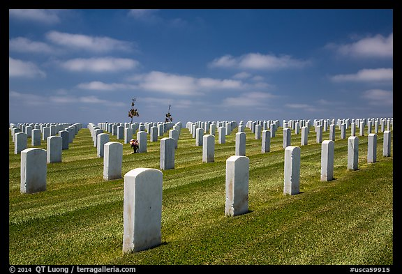 Gravestones, Fort Rosecrans National Cemetary. San Diego, California, USA (color)