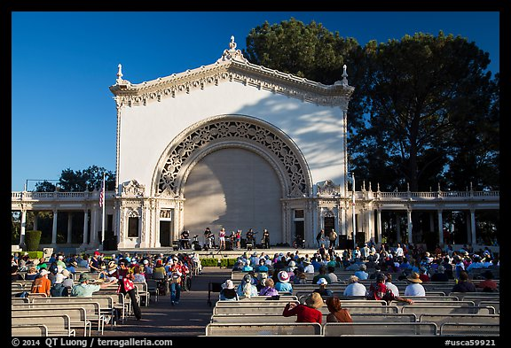Music performance at Spreckels Pavilion. San Diego, California, USA (color)