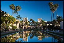 Casa de Balboa and House of Hospitality reflected in lily pond. San Diego, California, USA ( color)