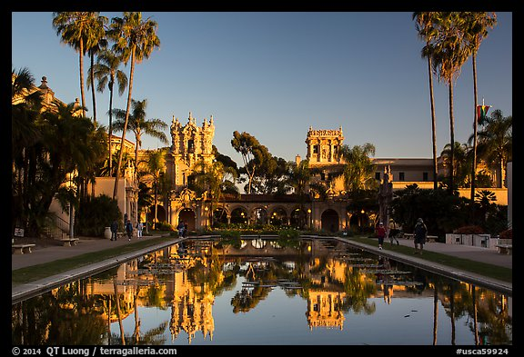 House of Hospitality and Casa de Balboa at sunset. San Diego, California, USA (color)
