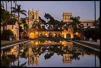 Casa de Balboa, Colonade, and House of Hospitality at dusk. San Diego, California, USA ( color)