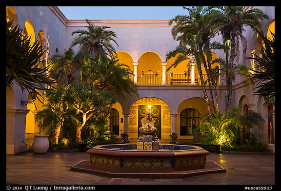 Casa de Balboa mauresque courtyard at dusk. San Diego, California, USA (color)